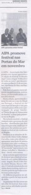 """""""AIPA promove festival nas Portas do Mar em novembro"""""""