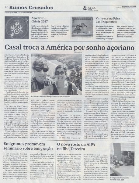 """Rumos Cruzados de 28 de janeiro: """"Casal troca a América por sonho açoriano"""""""
