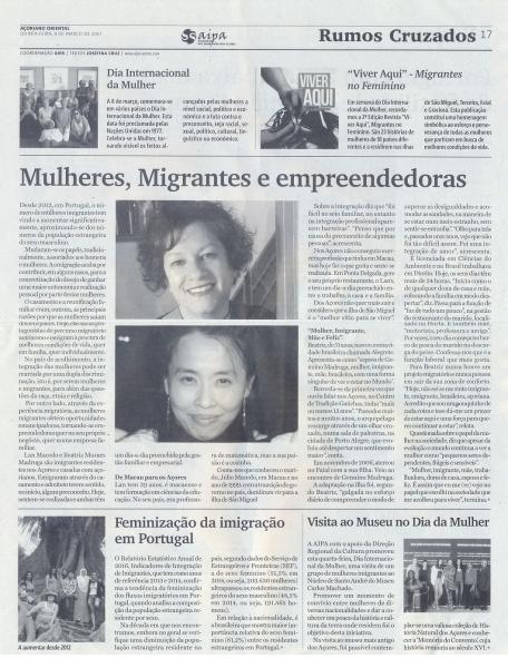 """Rumos Cruzados de 9 de março: """"Mulheres, Imigrantes e Empreendedoras"""""""